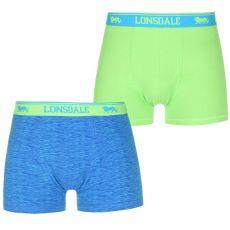 Μποξεράκια Lonsdale Aνδρικά Trunks 2τμχ - Green/Blue Print