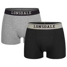 Ανδρικά μποξεράκια Lonsdale Oxfordshire 2τμχ - Black/Grey